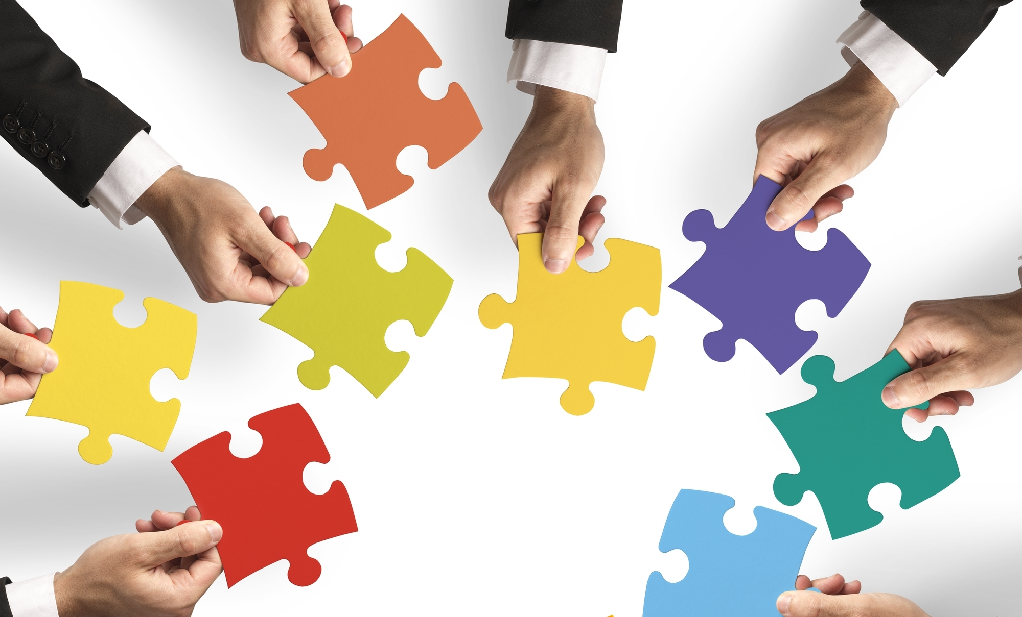 people holding puzzle pieces in circle representing IT suppliers