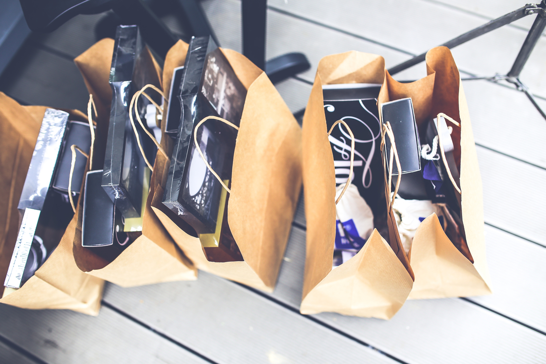 shopping bags full of hard drives and other hardware