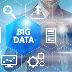 Big data graphic with man pointing to big data