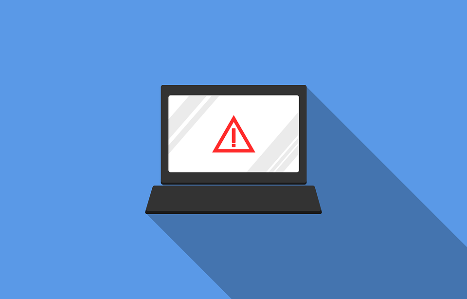 Laptop with error warning sign on cartoon graphic showing cyber security